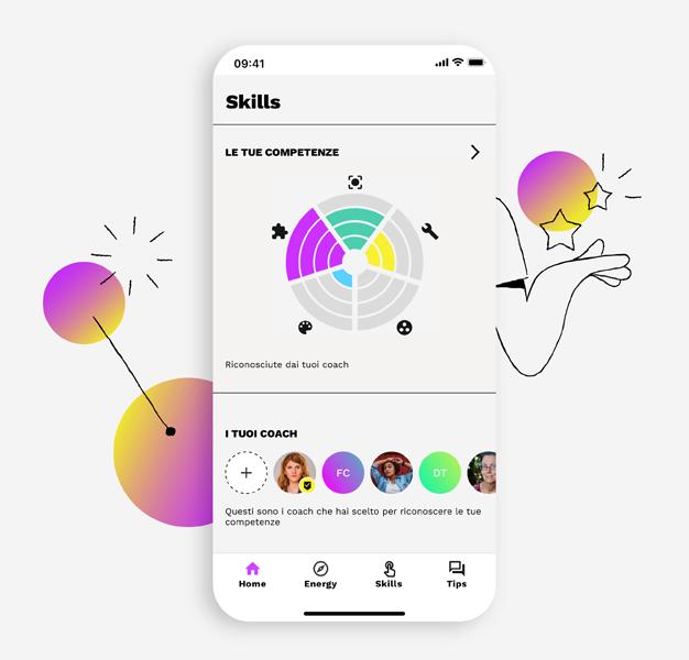 screen di app con grafico competenze