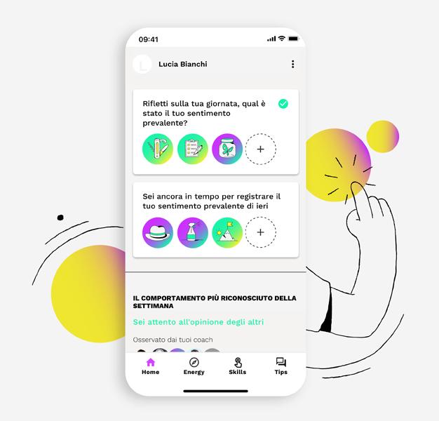 screen di app con mood giornalieri