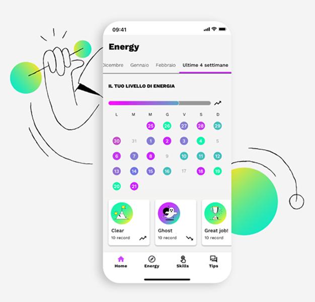 screen di app con analisi dei mood